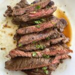 Sliced Bavette Steak on plate with title above it.