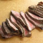 Sliced london broil on cutting board.