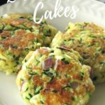 Three zucchini cakes on plate with title above it.