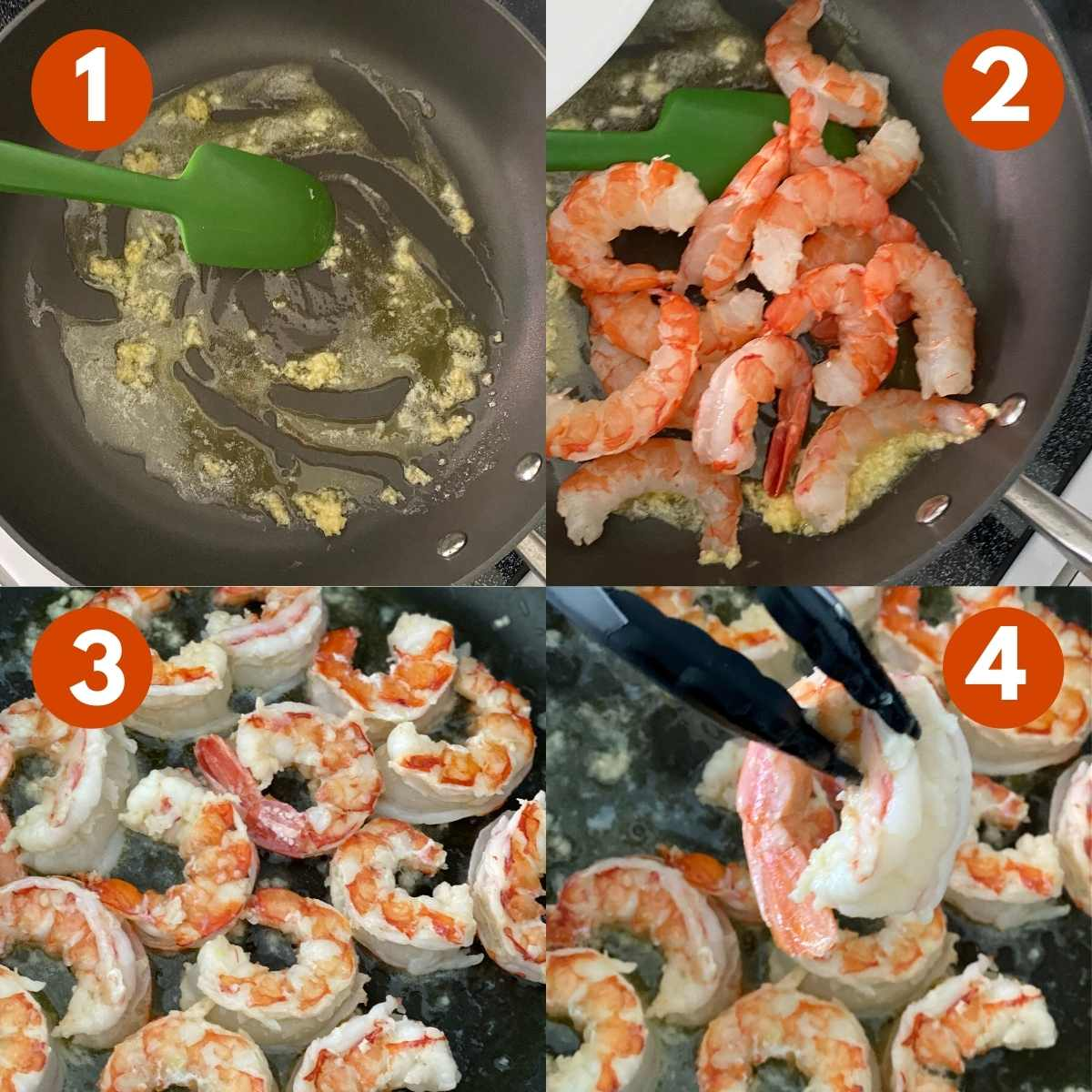 Numbered picture collage of steps to cook Patagonian King Prawn.