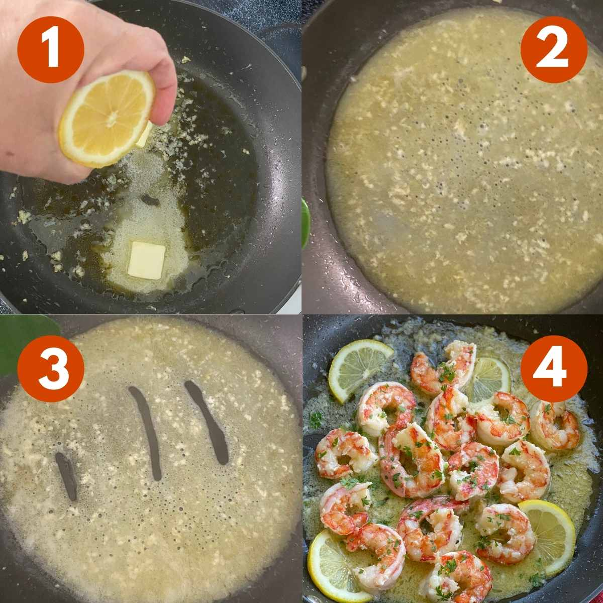 Numbered picture collage of steps to make scampi sauce.