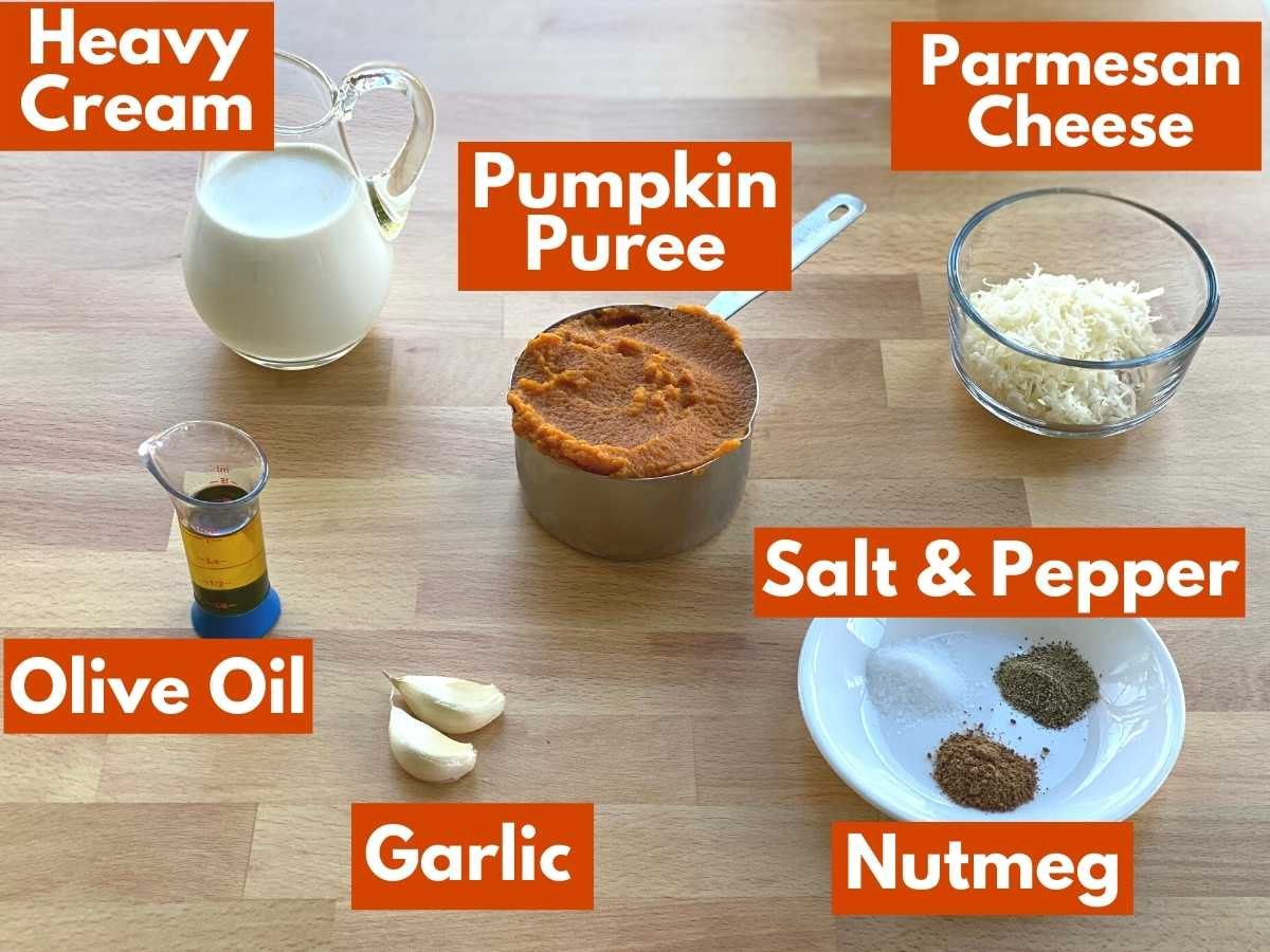 Labeled ingredients to make pumpkin pizza sauce.