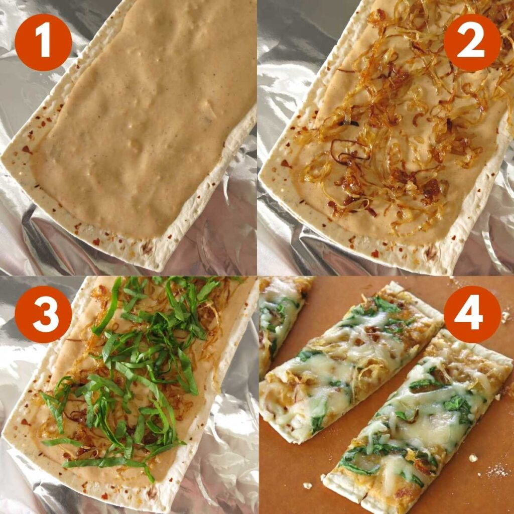 Numbered steps to assemble flatbread pumpkin pizza.