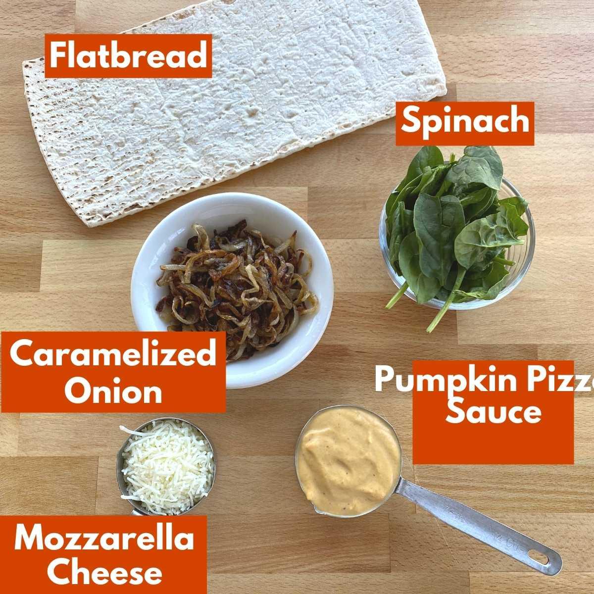 Labeled ingredients to make recipe.